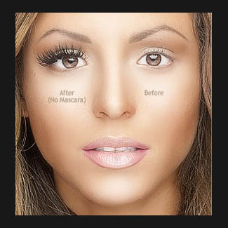 Womans face with eyelash extension
